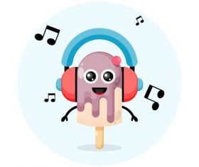 Ice cream cartoon illustration vector with headphones