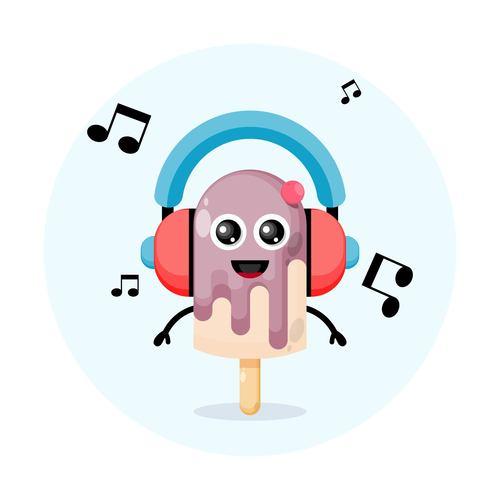 Ice cream cartoon illustration vector with headphones