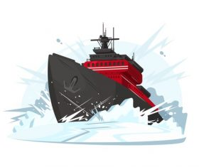 Icebreaker cartoon illustration vector