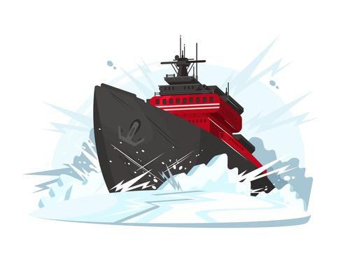 Icebreaker cartoon illustration vector