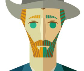 Illustration van gogh flat vector