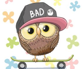 Illustration vector of owl standing on skateboard