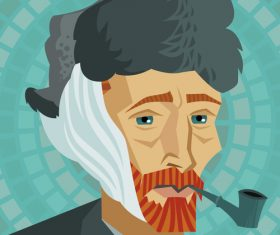 Illustration vector of van gogh holding a pipe