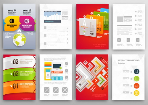 Infographics double sided template design vector