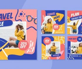 Instagram design travel card vector