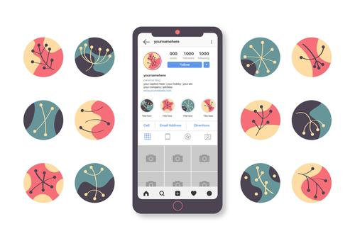 Instagram icons for application design abstract drawn vector