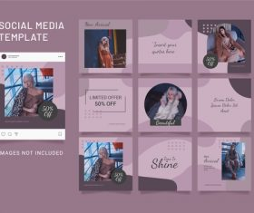 Instagram puzzle feed fashion women template vector