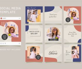 Instagram puzzle feed template fashion women vector