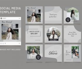 Instagram puzzle template fashion women feed vector