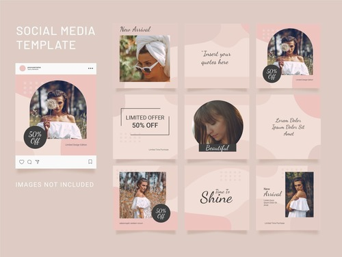 Instagram puzzle template feed fashion women vector
