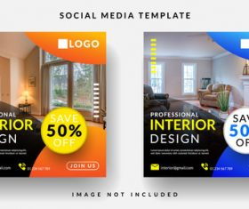 Interior decoration social media template vector