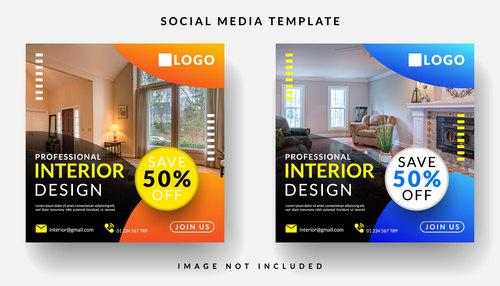 Interior decoration social media template vector