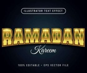 Islamic holiday font text style effect vector