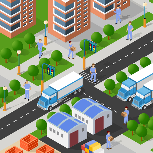 Isometric 3d illustration vector of houses and streets