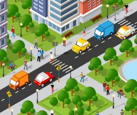 Isometric 3d illustration vector of street