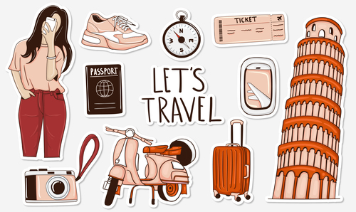 Italy travel sticker vector