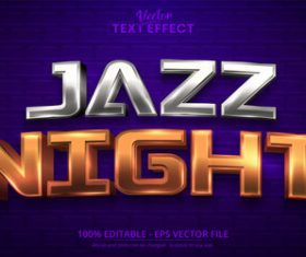 Jazz night editable font text design vector