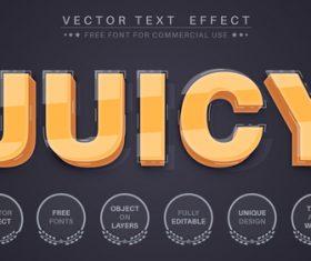 Juicy editable font text design vector