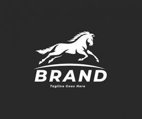Jumping horse simple logo vector