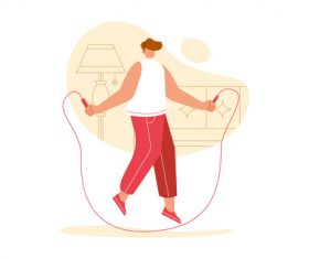 Jumping rope sport cartoon illustration vector