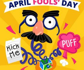 Kick me puff fools day cartoon vector