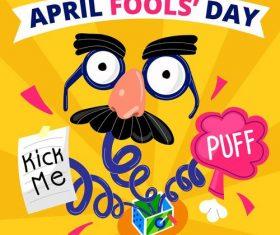 Kick me puff fools day cartoon vector