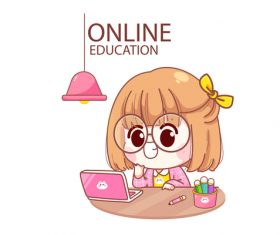 Kid studying online cartoon illustration vector