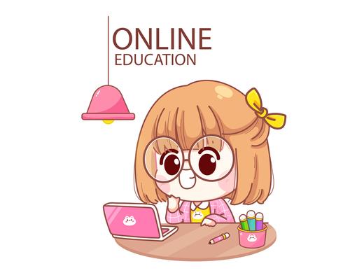 Kid studying online cartoon illustration vector