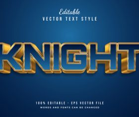 Knight text style effect vector