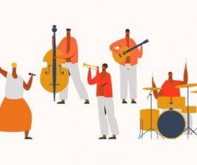 Latin jazz band illustration vector
