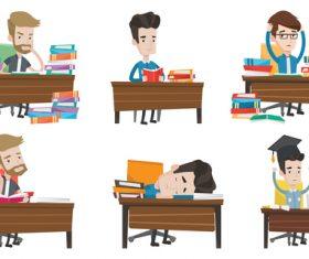 Learning cartoon illustration vector