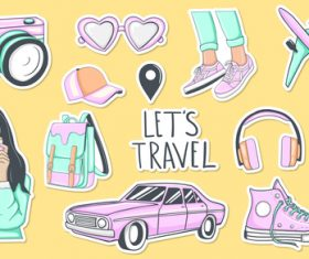 Lets travel sticker vector