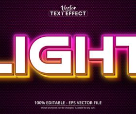 Light editable font text design vector