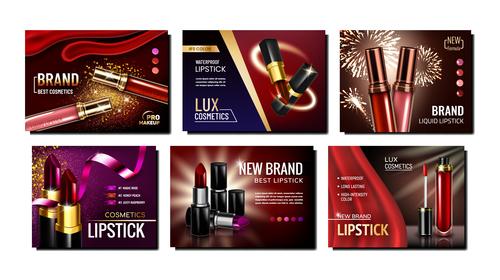 Lipstick cosmetic advertisement vector