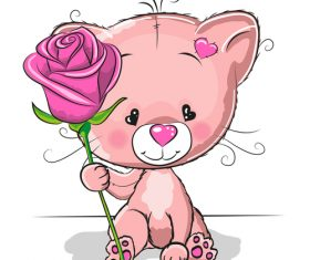 Little bear holding roses illustration vector