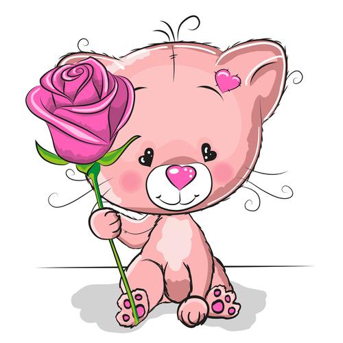 Little bear holding roses illustration vector