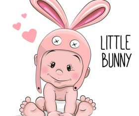 Little bunny cartoon illustration vector