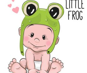 Little frog cartoon illustration vector