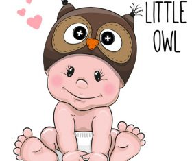 Little owl cartoon illustration vector
