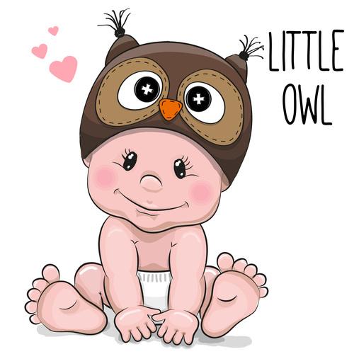 Little owl cartoon illustration vector