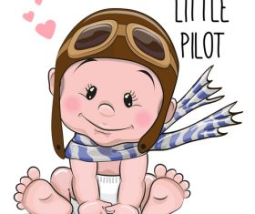 Little pilot cartoon illustration vector