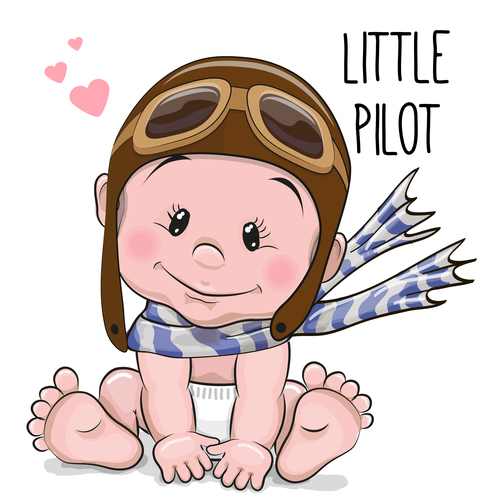 Little pilot cartoon illustration vector
