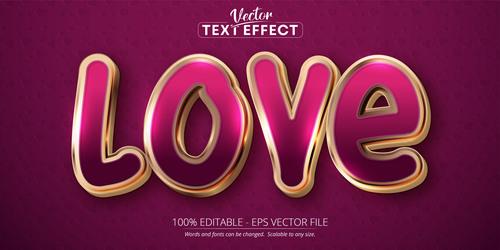 Love editable text effect vector