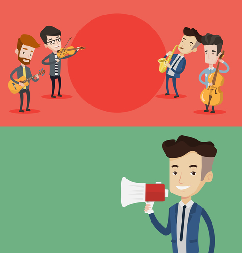 Love music cartoon illustration vector