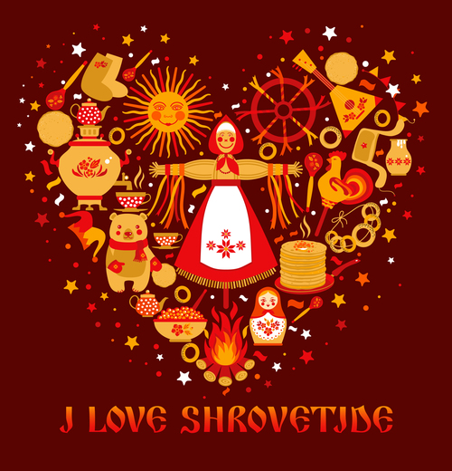 Love shrovetide silhouette vector