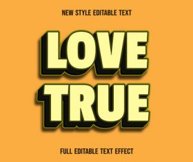Love true editable text effect vector