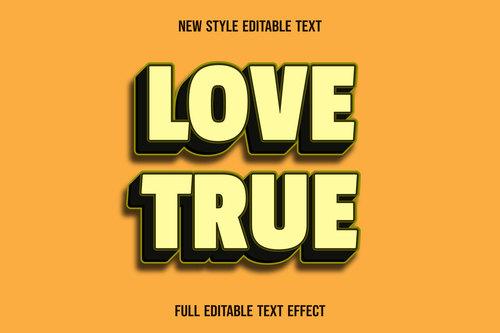 Love true editable text effect vector