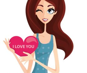 Love you cartoon illustration vector