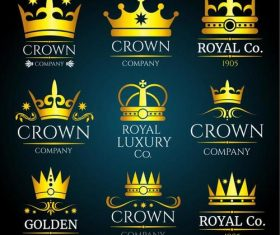 Luxury crown vintage monogram logos set vector