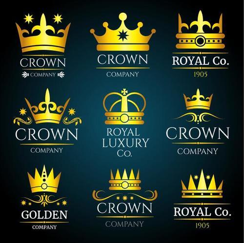 Luxury crown vintage monogram logos set vector